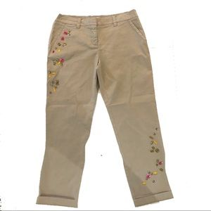 New Trina Turk embellished khaki ankle pants